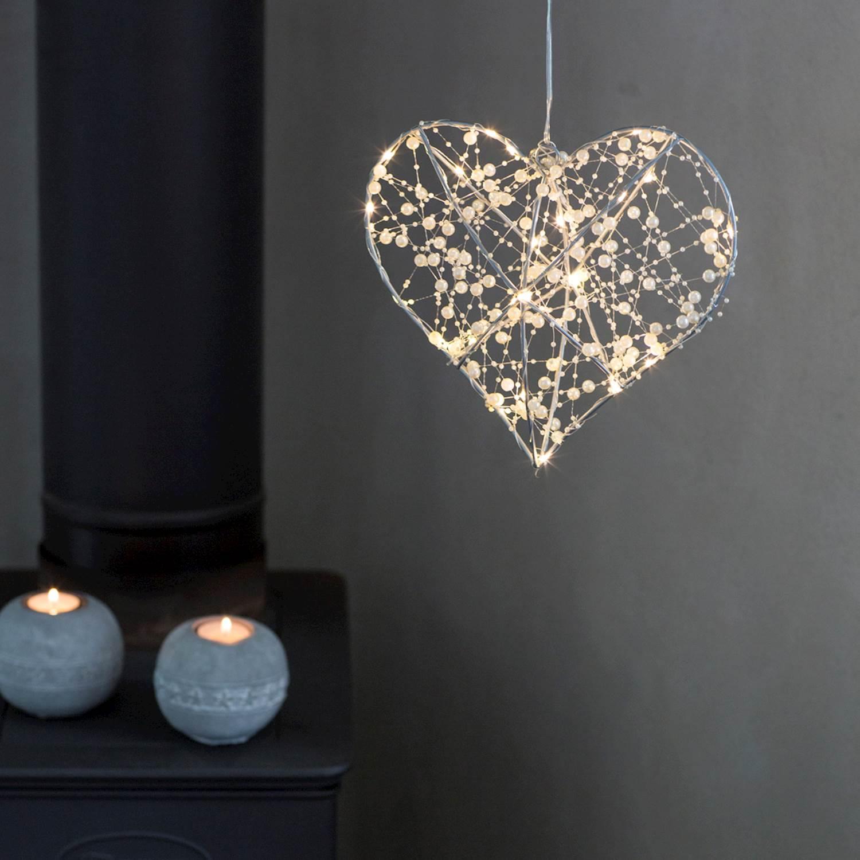 By Rydéns Pärlemor hjärta 25cm LED Vit
